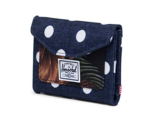 Herschel Orion RFID Wallet Polka Dot Crosshatch Peacoat/Tropical Hibiscus