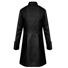 FNKDOR Jacket Coat Men Steampunk Vintage Tailcoat Buttons Jacket Overcoat Outwear Tops for Winter Autumn Black #3