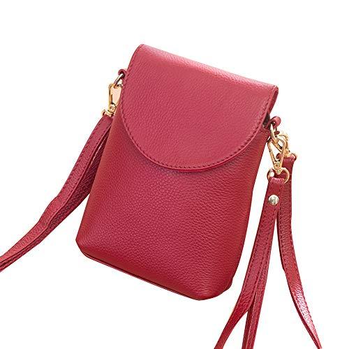 KangHan Bolso De Cuero para Teléfono Móvil De Moda Vertical para Mujer Pequeño Bolso para Teléfono Móvil Adecuado para iPhone 8 Plus O Teléfono Móvil Más Pequeño De 6.5 Pulgadas,Rojo
