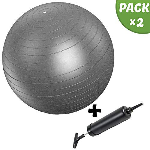 Slosy Pilates Ball 75cm for Pregnant Women Anti-Explosion Yoga Ball Kit Grey Fitness Ball + Inflator Gymnastics, Fitball, Pregnancy, Elastic Gym for Sports and Training