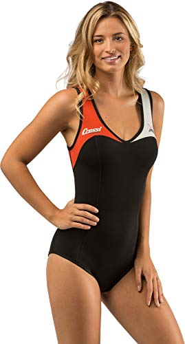 Cressi DEA Swimming Neoprene Wetsuit 1mm Bañador Neopreno 1mm, Mujer, Negro/Blanco/Naranja, M/3