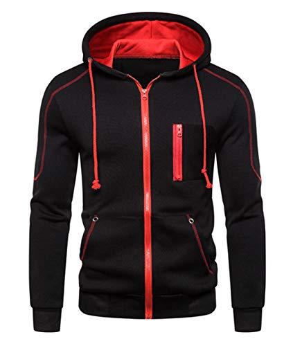 Cyiozlir Herren Sweatjacke Hoodies Kapuzenjacke Sweatshirt Männer Kapuzenpullover mit Reißverschluss Mantel mit Kapuzen (Schwarz, Medium