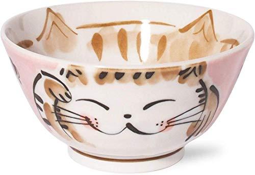 Minorutouki Mino-Yaki Japanische Reisschale, 480 ml, 13,3 cm, Motiv: Beckonende Katze