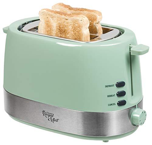 Bestron Design Toaster mit 2 Röstkammern, Krümelschublade und Röstaufsatz, Royal Mint, 850 Watt, Mintgrün