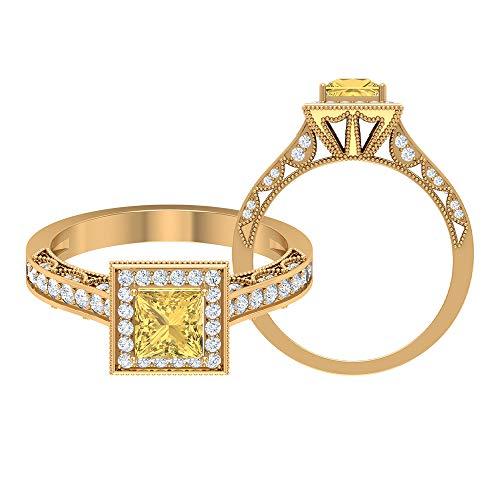 Anillo de boda milgrain, anillo de gemas de 1 ct, diamante HI-SI 5 mm citrino, anillo de diamante de corte princesa, anillo de compromiso solitario, regalo de aniversario, 14K Oro amarillo, Size:EU 57