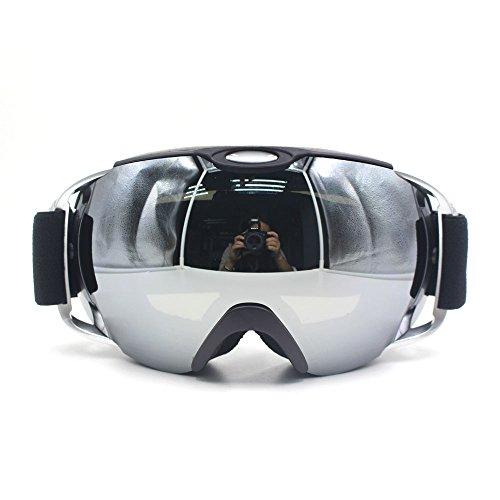 Mikphone Professionale Anti-Nebbia Anti-Vento a Doppio Strato Lente di Protezione UV Occhiali da Sci Snowboard Skate, Unisex chiarezza Visione Sci Occhiali (Nero)
