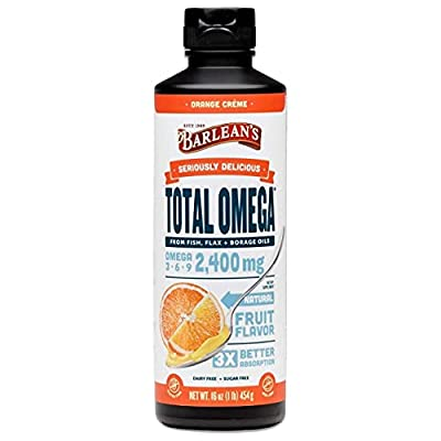 Barlean's Total Omega Orange Creme Fish Oil Supplements with Flaxseed Oil and Borage Oil - 2400mg of Omega 3 6 9 EPA/DHA - All-Natural Fruit Flavor, Non-GMO, Gluten Free - 16 Ounce