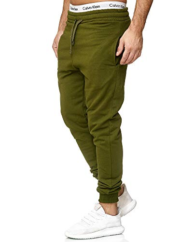 OneRedox Herren | Jogginghose | Trainingshose | Sport Fitness | Gym | Training | Slim Fit | Sweatpants Streifen | Jogging-Hose | Stripe Pants | Modell 5000C Oliv M