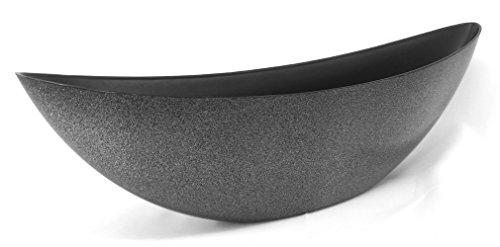 Decoline Kunststoff Blumentopf Schiff (schwarz Glitter, XL: 55.5 x 17.5cm)