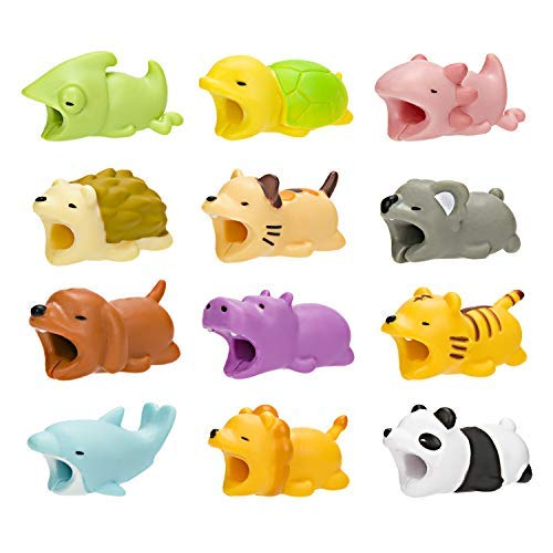 Cable Animal Bite Cable Protector,12 Pieces Cute iPhone Cord Protector Cartoon Cord Bite,Charging Cable Protector Compatibility for iPhone/iPad Charger Cable