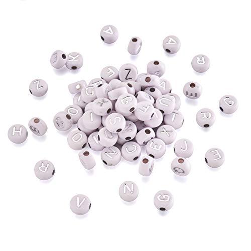 146 perline piatte rotonde in acrilico da 7 mm A-Z con lettera con alfabeto in argento placcato, per bambini fai da te creazione di gioielli
