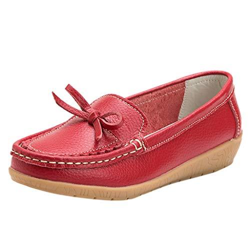 Deloito Damen Freizeit Arbeitsschuhe Espadrilles Runder Zeh Halbschuhe Einfarbig Kinder Keile Schuhe Mokassins einzelne Erbsen Bootsschuhe (Rot,37 EU)