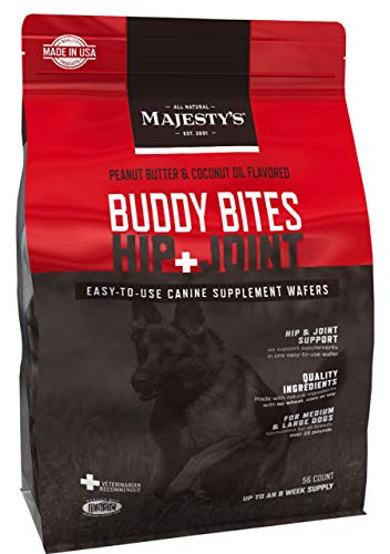 Majesty's Buddy Bites Hip and Joint Wafers for Medium / Large Dogs - Superior Support Supplement - Peanut Butter and Coconut Oil Flavored - 56 Count (Up To 8 Week Supply)