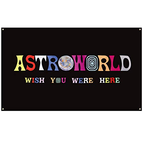 Astroworld Travis Scott Flag Black, 3x5 Feet Flag Banner, Man Cave Wall Flag with Brass Grommets for College Dorm Room Decor,Tailgates,Parties,Gift