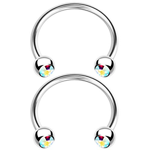 2pc 1.2mm 16g Horseshoe Bar Earrings Surgical Steel Snake Bite Eyebrow Septum Lip Tragus Ear Cartilage Helix Ring 10mm 3/8 inch - Aurora Borealis