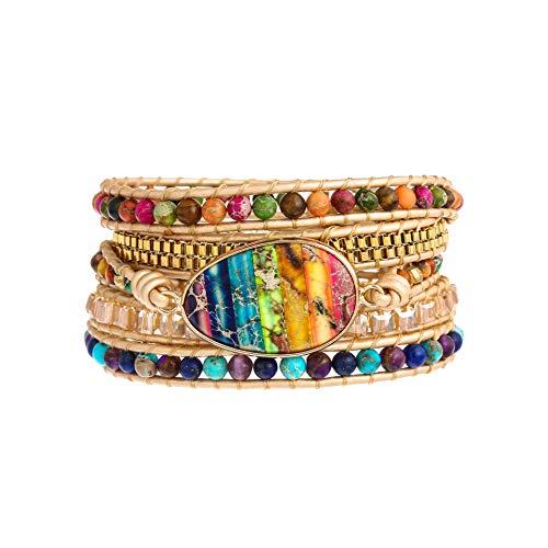 Plumiss Bohemia 5 Wraps Imperial Jasper Bracelet Handmade Multilayer Beaded Jewellery For Women And Girls