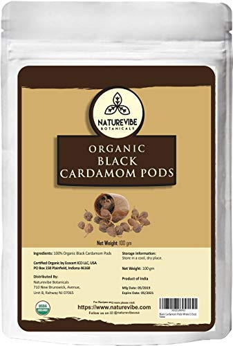 Naturevibe Botanicals Organic Black Cardamom Pods Whole, 3.5 ounces (100g) | Non-GMO and Gluten Free | Indian Spice