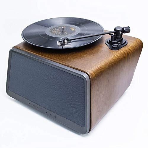 Zavddy Tocadiscos Altavoz de la Nuez del Disco de Vinilo Jugador Inteligente Reproductor de Audio Bluetooth Pequeño hogar Tocadiscos para Casa (Color : Marrón, Size : 38x35x25cm)