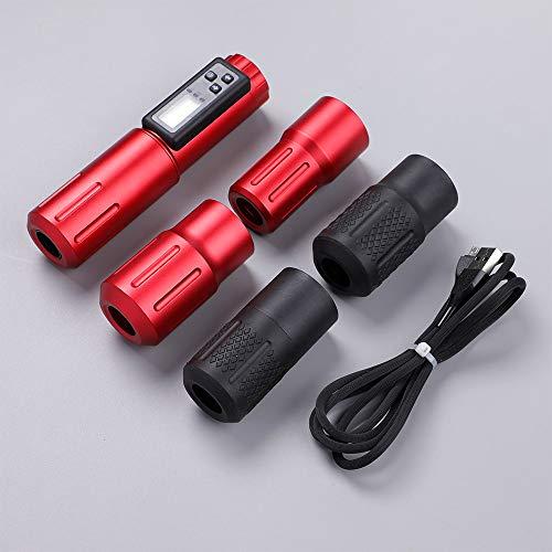 STIGMA Premium Quality Rotary Tattoo Machine Pen Red with Japanese Coreless Motor Tattoo Wireless Battery Oneness Machine with 5 Free Professional Tattoo Grips EM158-2