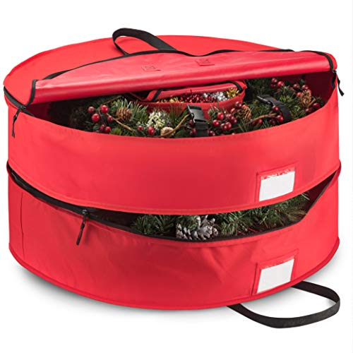 """Double Premium Christmas Wreath Storage Bag 30"""", With Compartment Organizers For Christmas Garlands & Durable Handles, Protect Artificial Wreaths - Holiday Xmas Bag Made of Tear Proof 600D Oxford"""