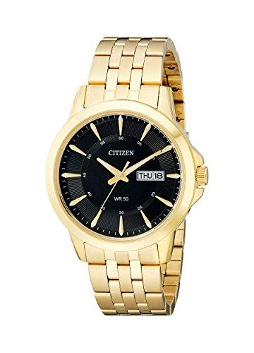 Citizen BF2013–56E cuarzo para hombre día/fecha reloj–tono dorado, esfera de color negro