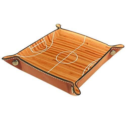 Bandeja de Cuero - Organizador - Tribunal de baloncesto de piso de madera - Práctica Caja de Almacenamiento para Carteras,Relojes,llaves,Monedas,Teléfonos Celulares y Equipos de Oficina
