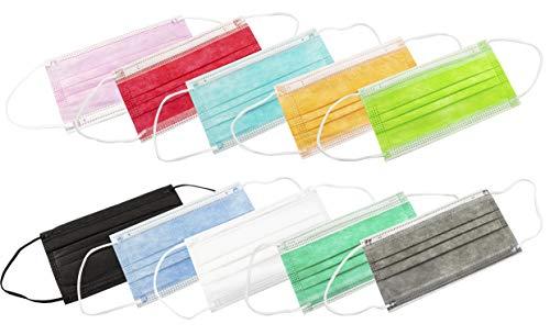 TBOC Mascarilla Higiénica No Reutilizable -  [Pack 30 Unidades] Máscara 3 Capas [Multicolor] Ligera Suave y Transpirable [Desechables] con Pinza Nasal Protección Facial [Alta Filtración]