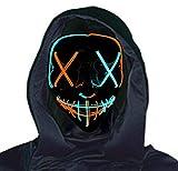 AvviKro Máscara de Halloween, máscara de purga LED, máscara de Halloween espantosa máscara de Halloween para adultos, hombres y mujeres (naranja y azul)