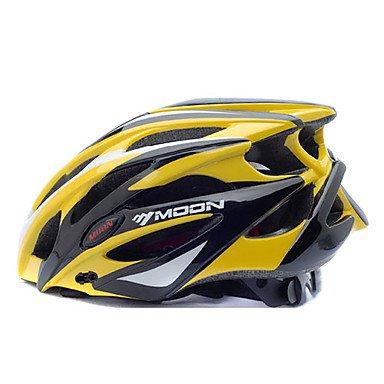 MOON BIke Casco Ciclismo Giallo+Nero PC+EPS 25 Vents MTB Casco Protettivo, l