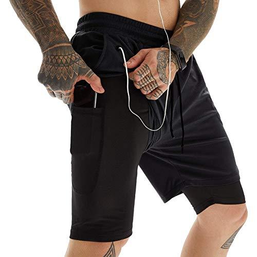 Pantalones Cortos Deportivos de Secado rápido para Hombre, Tendencia de Personalidad de Verano, Pantalones Cortos Deportivos de Doble Capa con función Anti-luz, Pantalones de Cinco Puntos 3XL