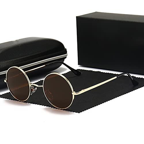 TYTG Gafas de Sol Gafas de Sol polarizadas Redondas Vintage, Gafas de Sol Femeninas Masculinas Marco de Metal clásico para Hombres y Mujeres Artículos de Uso Diario