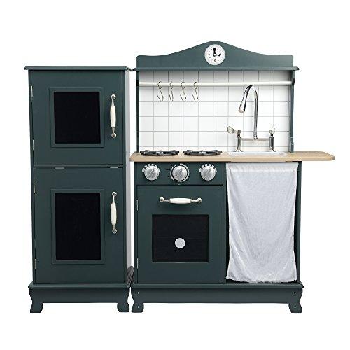 Teamson Kids Provence Play Kitchen, Dark Green/ Oak Grain, Small: 27.50x11.75x37.25 F: 13.75x11.75x33.50