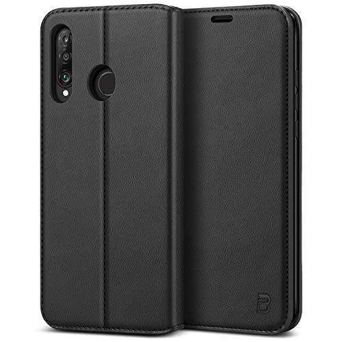 BEZ Handyhülle für Huawei P30 Lite Hülle, Premium Tasche Hülle Kompatibel für Huawei P30 Lite, Schutzhüllen aus Klappetui mit Kreditkartenhaltern, Ständer, Magnetverschluss, Schwarz