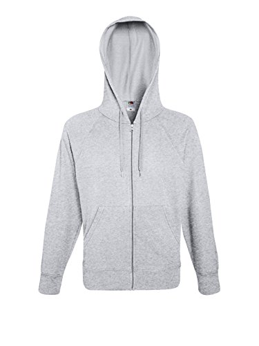 Fruit of the Loom Herren Lightweight Hooded Sweat Jacket Sportjacke, Grau (Heather Grey 123), Small