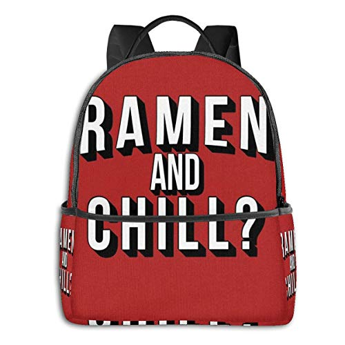 IUBBKI Ramen And Chill Student School Bag School Cycling Leisure Travel Camping Outdoor Backpack