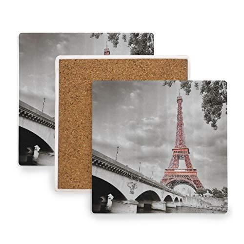 PANILUR Immagine selettiva Monocromatica di colorazione di Capitale di Cloudscape del Ponte della Torre Eiffel della Città di Parigi,Sottobicchiere in Ceramica da caffè,Decorazione Domestica(1)