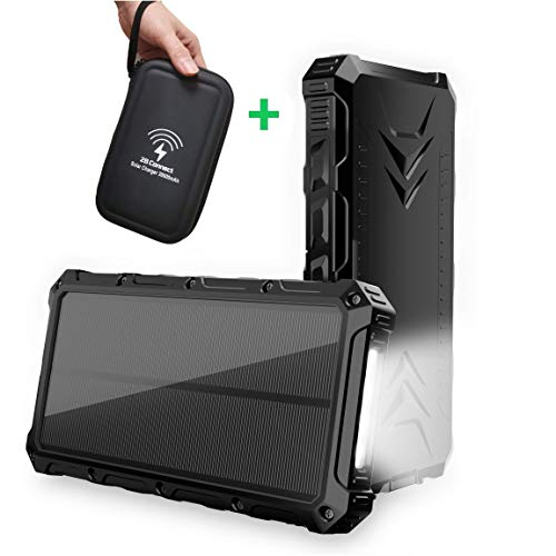 Solar Charger Power Bank 30000mAh, 2BConnect Portable Charger with PU Hard Travel Case Fast Charging Solar Power Bank Phone Charger.High-Speed Qi Wireless. Flashlight. Waterproof,Dustproof,Shockproof