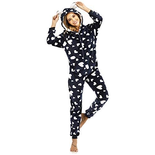 ZJMIYJ Pijamas De Mujer,Invierno Amor Huella Frannel Una Pieza Negro Homewear Señoras De Franela Estampado Corazón Estampado De Una Sola Pieza Home Wear Cálido Y Acogedor Pajamas,XL