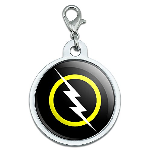 Graphics and More White Lightning Bolt Large Chrome Plated Metal Pet Dog Cat ID Tag