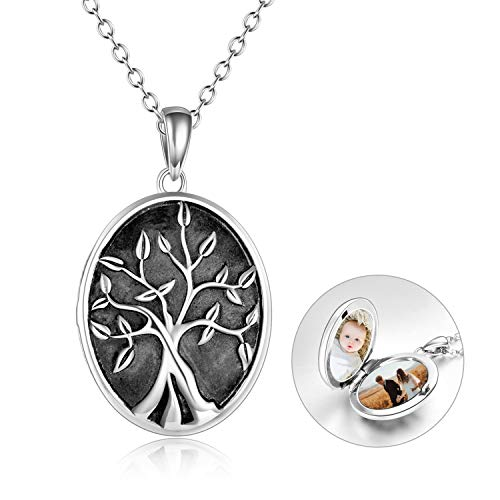 POPKIMI Tree of Life Locket Necklace That Holds Pictures Sterling Silver Oval Photo Locket Pendant Necklace Jewelry for Women Birthday