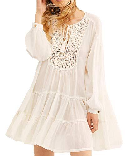 Saoye Fashion L Peach Damen Sommer Strand Bikini Modisches Strandkleid Mit Fransen Fiesta Kleidung Strand Kleid One Size Eu Xs/S/M (Color : Weiß, Einheitsgröße : Einheitsgröße)