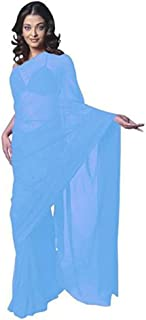 Sharvgun Women's Pure Chiffon Plain Solid Colors Indian Bollywood Saree (Sari) with Unstitched Blouse Piece
