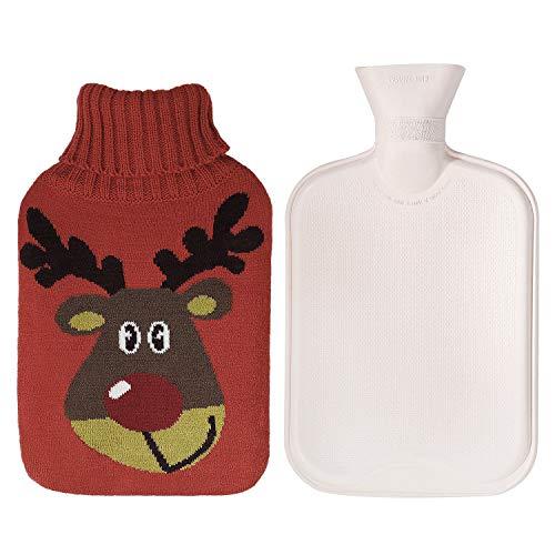 Wärmflaschen 2 Liter mit Bezug Sicher und Langlebig Wärmflasche mit Rentier-Muster Gestrickter Abdeckung, Perfekte Weihnachten Geschenk 33 x 20cm