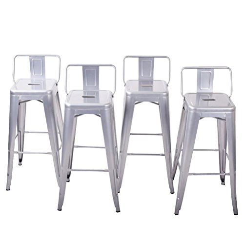BELLEZE Counter 24 Height Stool w/Low Backrest Kitchen Home Silver Chair, Set of 4
