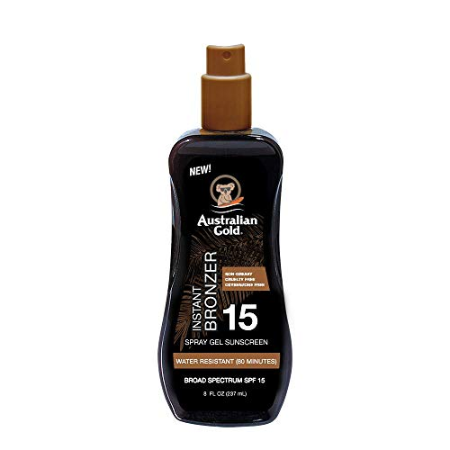 Australian Gold Spray Gel Sunscreen with Instant Bronzer SPF 15, 8 Ounce | Moisturize & Hydrate Skin | Broad Spectrum | Water Resistant | Non-Greasy | Oxybenzone Free | Cruelty Free