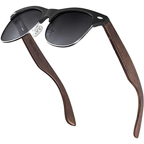Balinco® Halbrahmen Sonnenbrille mit dunklen Holzbügeln & polarisierten TAC-Linsen für ein außergewöhnlich klares Sehvermögen - bruchfest, nachhaltig, langlebig - im praktischen Set inkl. Geschenkbox