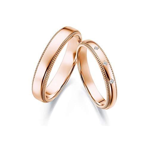 Epinki Anillo Oro Rosa 18k Redondo Diamante 0.03ct Anillo de Mujer de Compromiso