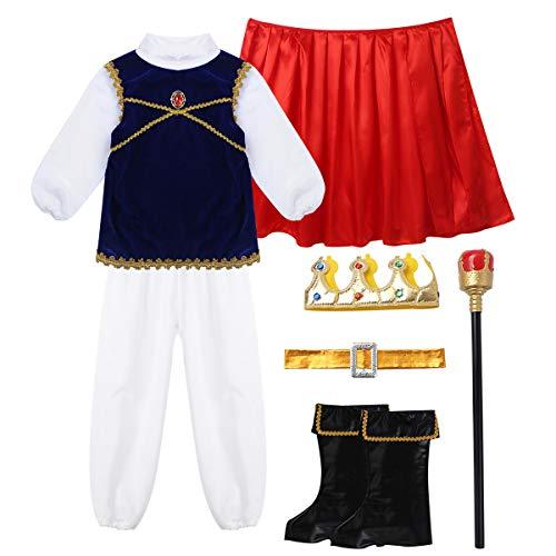 TiaoBug 7Pcs Traje de Cosplay Nios Disfraz de Prncepe Caballero para Fiesta Carnaval Hallowen Navidad Chicos Juegos de Roles Fotografas Cumpleaos Azul 10-12 aos