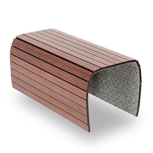 BAM BOO BOX Bandeja de Bambú para Sofá – Posavasos para Reposabrazos para Bebidas y Aperitivos – Bandeja para Reposabrazos de Madera Marrón Oscuro