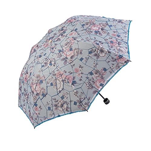 Parapluie Pliante de qualité pour Les Femmes de Voyage -UEN Fleur de Pluie Coupe-Vent Modish Femme Sun Girl Parasol Dentelle Parapluies (Color : Blue)